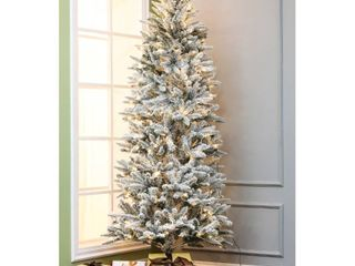7 Foot  Pre lit lED 7ft Artificial Flocked Christmas Tree