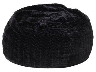 Monroe Glam 3 Foot Faux Fur Bean Bag Chair by Christopher Knight Home  Black