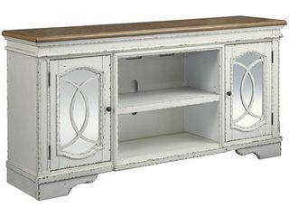 75  Realyn TV Stand with Fireplace Option Chipped White   Signature Design by Ashley