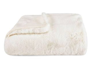 White  Vera Wang lapin Faux Fur Supersoft Throw