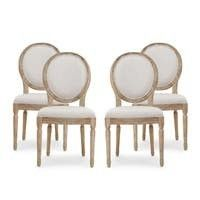 Phinnaeus French Country Fabric Dining Chairs  Set of 4  by Christopher Knight Home