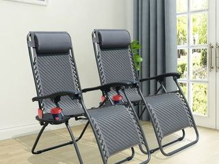 Ovios Set of 2 Adjustable Zero Gravity lounge Wicker Chair Recliners for Patio  Pool Cup Holders