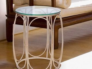 Adeco Classic Goldtone Nesting Side Table  Set of 2  Retail 94 99