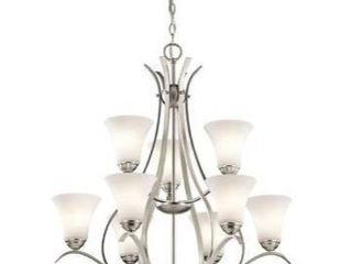 Null  Copper Grove Braeview 9 light Scrollwork Brushed Nickel Chandelier