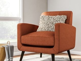 Carson Carrington Keflavik Mid century Orange linen Arm Chair  Retail 249 49