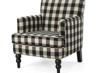 black checkerboard  Harrison Tufted Fabric Club Chair by Christopher Knight Home