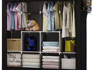 UDEAR Portable Closet large Wardrobe Closet Clothes Organizer with 6 Storage Shelves  4 Hanging Sections 4 Side Pockets Black
