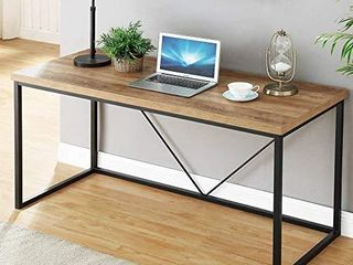 FOlUBAN Rustic Industrial Computer Desk Wood and Metal Writing Desk  Vintage PC Table for Home Office  Oak 60 inch
