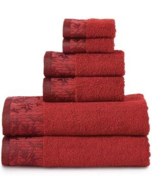 Superior 100 percent Cotton Wisteria 6 Piece Towel Set   Garnet