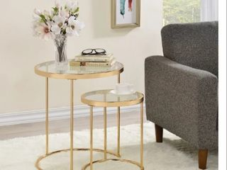 Gold 2 piece Round Glass Top Nesting Table  Retail