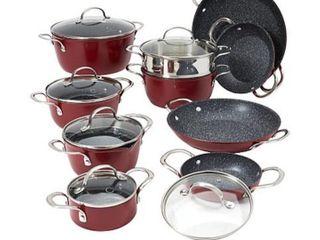 Red  Curtis Stone Dura Pan Nonstick 16 piece Nesting Cookware Set  Retail 183 99
