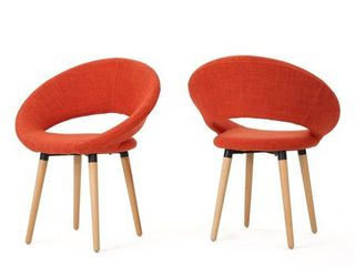 Orange  Keegan Modern Fabric Dining Chair  Set of 2