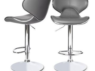 Clay Alder Home Masaccio leatherette Airlift Adjustable Swivel Barstool  Set of 2  Retail 126 49