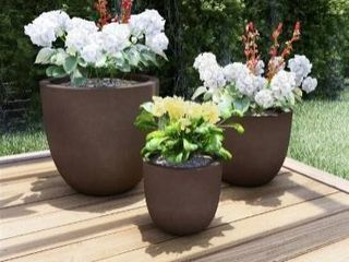 Round Fiber Clay Planters by Pure Garden  Set of 3  Retail 125 99