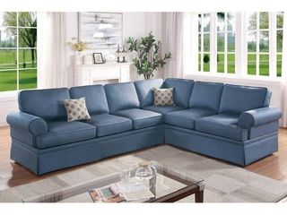 Blue  2 PCS Rolled Arms Modular Sectional   Not fully Inspected