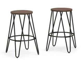 Brooklyn   Max Webster16 in Cocoa Brown   Black 26 inch Metal Counter Height Stool with Wood Seat  Set of 2