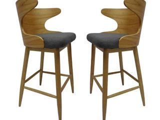Kamryn Mid century Modern Upholstered Bar Stools  Set of 2  by Christopher Knight Home  Retail 223 99