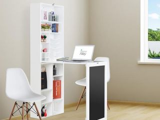 Utopia Alley Collapsible Fold Down Desk Table Wall Cabinet with Chalkboard and Bottom Shelf  White   Retail 233 49