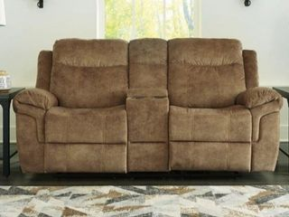 Brown  Huddle Up Contemporary Double Rec loveseat