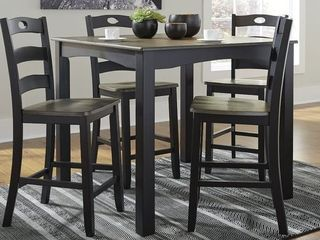 Null  The Gray Barn Earth Dance Square Brown and Black Counter Height 5 piece Dining Set  Not fully Inspected