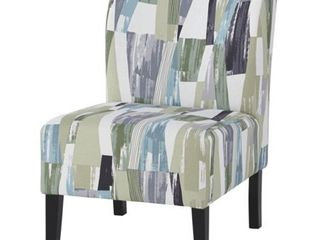 Triptis Geometric Pattern Blue Green Contemporary Accent Chair