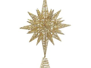 Kurt Adler 16 5 Inch Gold Glitter Wire 3D Star Treetop