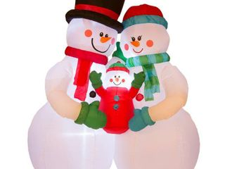 Glitzhome 8  lighted Inflatable Snowman Family Decor  Retail 91 99