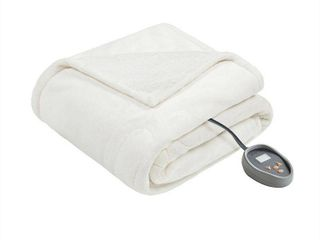 Ivory  Beautyrest Solid Microlight to Berber Heated Blanket  Retail 135 59