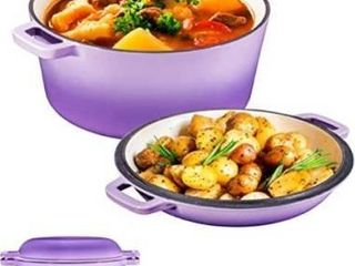 2 in 1 Enameled Cast Iron Double Dutch Oven   Skillet lid