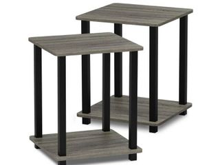 Furinno 12127GYW BK Simplistic End Table  Set of Two