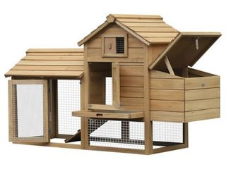 PawHut 59  Solid Wood Enclosed Outdoor Backyard Chicken Coop Kit with Nesting Box  Retail 187 49