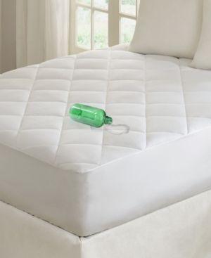 Twin Xl  Madison Park Ensure White 100 Percent Cotton Sateen Waterproof Diamond Quilting Down Alternative Mattress Pad