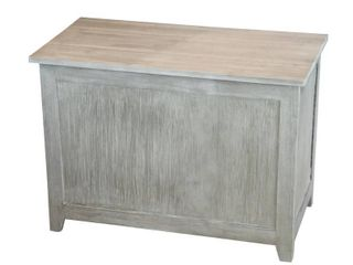 Eccostyle Solid Bamboo Brushed Gray Storage Chest Bench 18 in x 26 in x 14 in