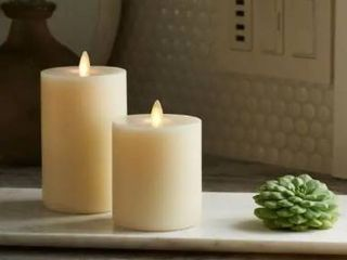 Set of 2 Ivory  lightli Touch On Off Moving Flame 3 25  x 4 5 Pillar lED Candle