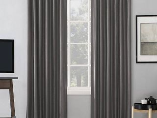 63 x50  Evelina Faux Dupioni Silk Thermal Extreme 100  Blackout Back Tab Curtain Panel Gray   Sun Zero