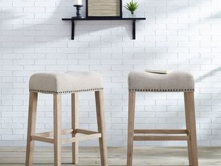Roundhill CoCo Upholstered Backless Saddle Seat Bar Stools 29  height Set of 2  Tan