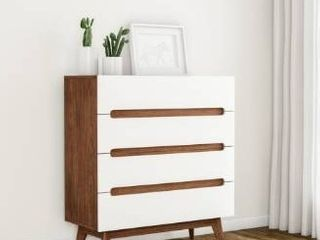 White   4 drawer  Carson Carrington Sundsvall Mid century White and Walnut 4 drawer Chest  Retail 227 99