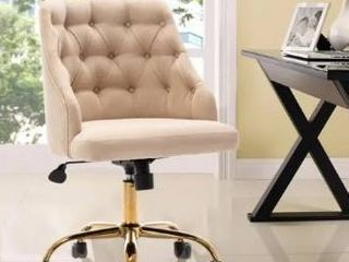 Beige  Fabric Home Office Chair With Gold Plated feet And Adjustable Height  Retail 168 49