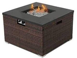 Brown  COSIEST Outdoor Propane Square Espresso Brown Wicker Fire Pit