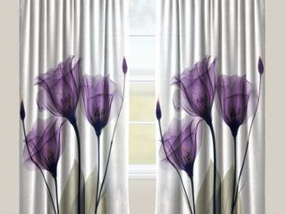 84 Inches  laural Home lavender Floral X Ray Sheer Curtain Panel  Single Panel
