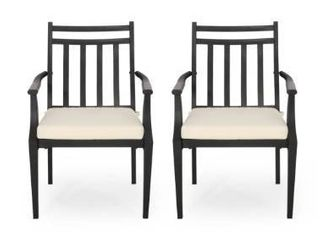 Set of 2 Beige Black  Delmar Outdoor Dining Chairs by Christopher Knight Home