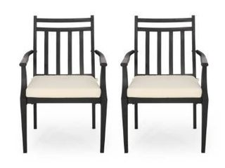Aet of 2 Beige Black  Delmar Outdoor Dining Chairs by Christopher Knight Home