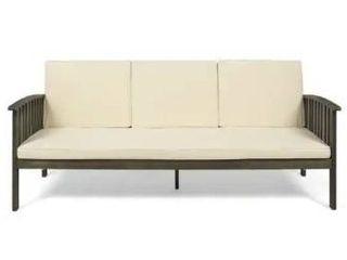 Carolina Outdoor Acacia Wood Sofa by Christopher Knight Home  Gray   Cream Cushion