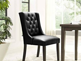 Set of 2 Baronet Vinyl Dining Chair in Black