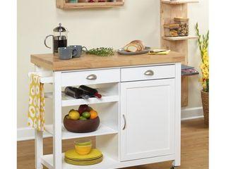 Martha Kitchen Cart  Rubber wood top  White