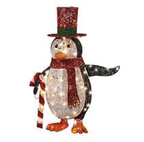 3  lED lit Penguin with Red Top Hat Holding Candy Canes   National Tree Company