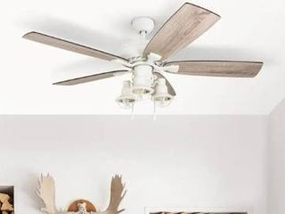 52   White   Hardwired  The Gray Barn Chevening 52 inch Coastal Indoor lED Ceiling Fan with Pull Chains 5 Reversible Blades