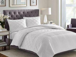Stone Cottage Mosaic 3 piece White Textured Cotton Comforter Set  Retail 123 99