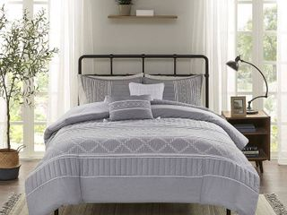 King   Cal King  Madison Park Amari Grey 5 Piece Comforter Set  Retail 106 99
