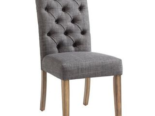 nspire Button Tufted Rolled Top Dining Side Chair   Set of 2